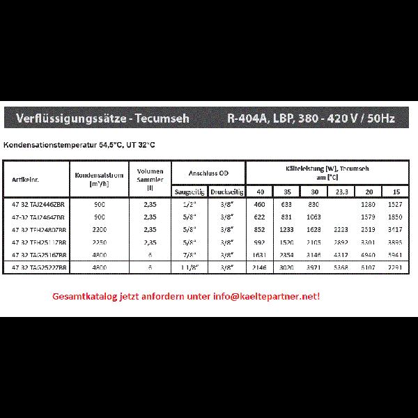 Verflüssigungssatz Tecumseh TAG2522ZBR (POE), LBP -... - Kälte Verflüssigungssätze