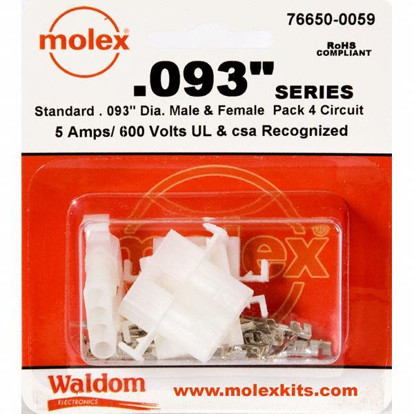 "KIT CONN STD .093"" 4 CIRCUITS - Molex Connector Corporation 76650-0059"