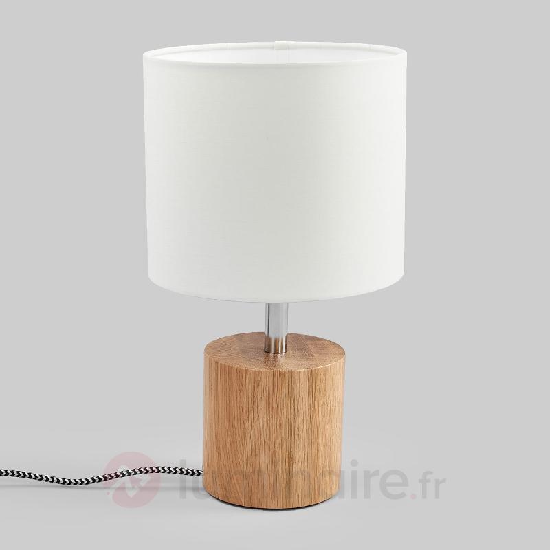Lampe à poser ronde bois Trongo câble noir-blanc - Lampes à poser en bois