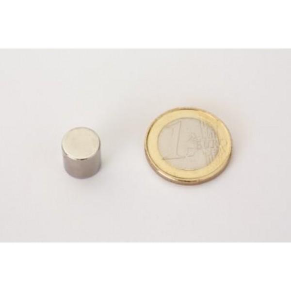 Neodymium disc magnet 10x10mm, N45, Ni-Cu-Ni, Nickel coated - Disc