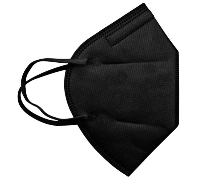 قناع أسود ffp2 CE EN 149 لون أسود يمكن التخلص منه - قناع الوجه الأسود FFP2 ذو 5 طبقات Ce En 149 قناع الوجه القابل للتصرف باللون الأس