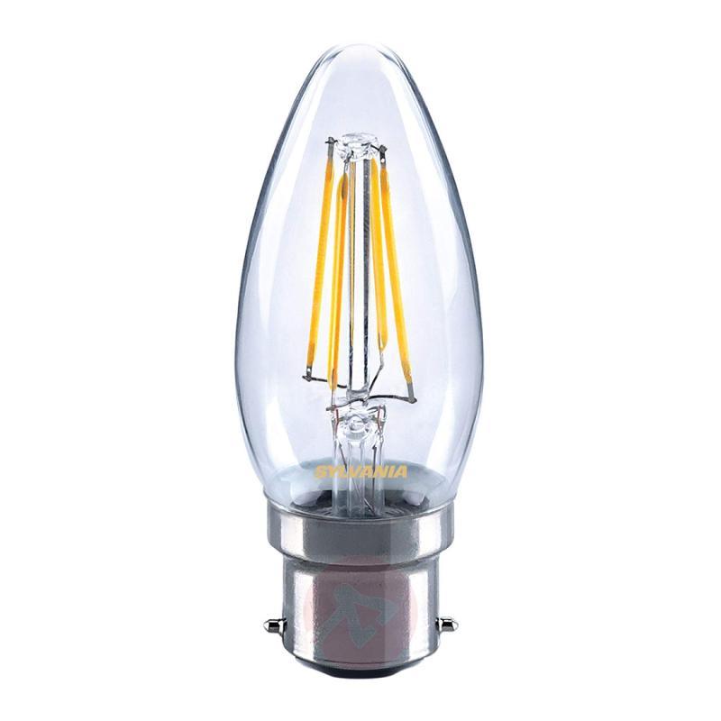 B22 4W 827 LED candle bulb, clear - light-bulbs