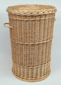 Coffre à linge rond osier blanc  - H.60cm