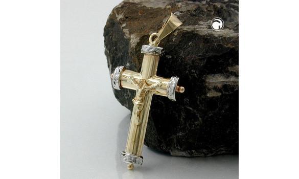 Pendentif croix avec le christ - Pendentif 9K Or croix avec le christ