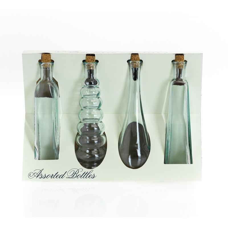 Assortiment de 4 mini bouteilles en verre 120 ml avec bouchons en liège - Vaisselle de Table
