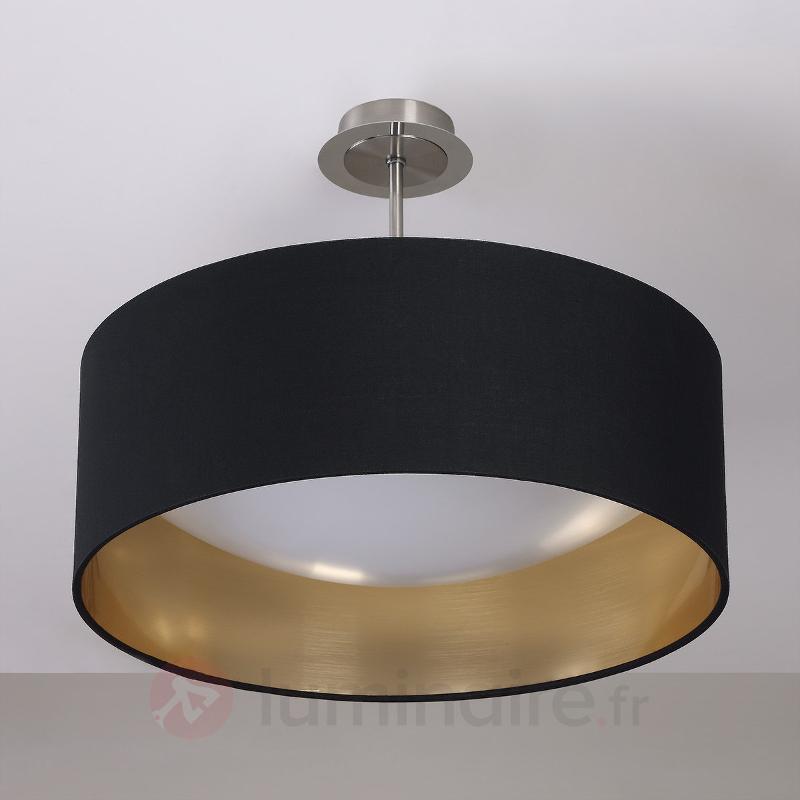Coleen - plafonnier en tissu noir-doré, LED - Plafonniers en tissu