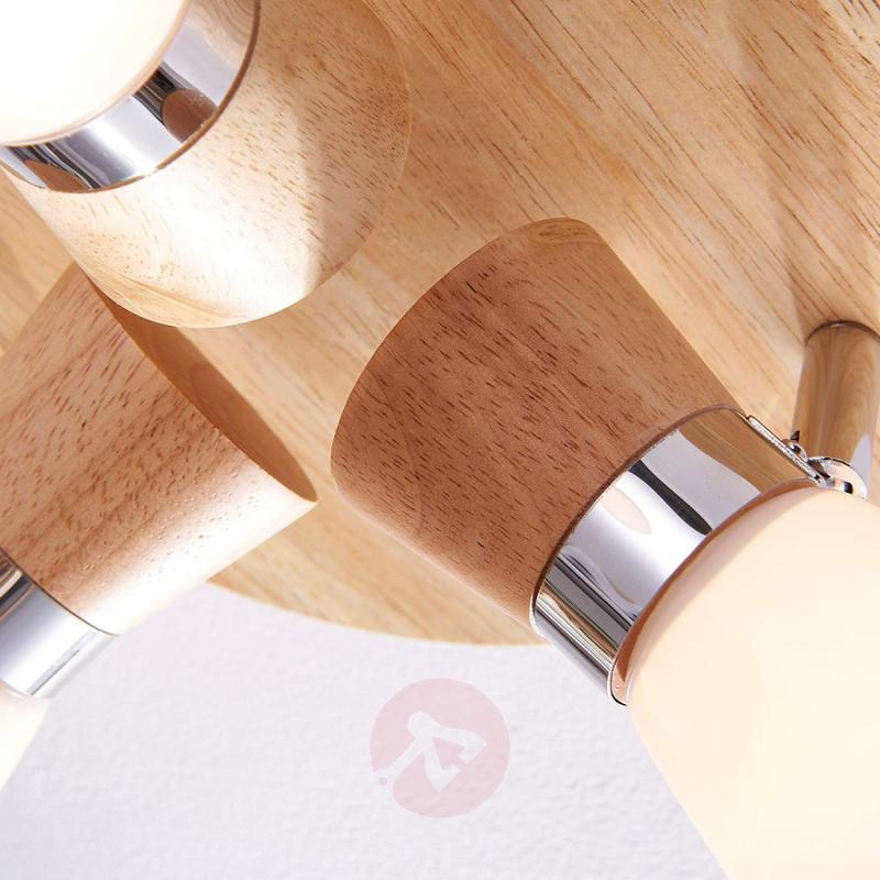 Circular ceiling spotlight Vivica, wooden elements - indoor-lighting