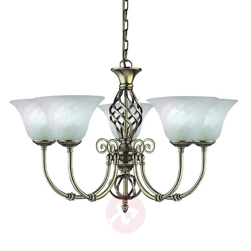 Cameroon colonial-style chandelier, 5-light - Chandeliers