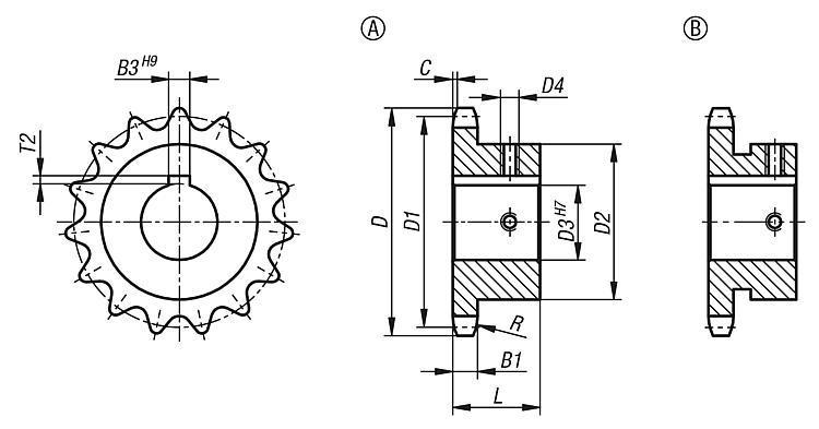 """Pignons simples 3/8"""" x 7/32"""" DIN ISO 606, prêts à monter - Chaînes et pignons"""