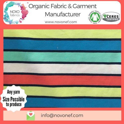 Yarn dyed 100% Cotton Organic Jersey fabric Natural Stripe