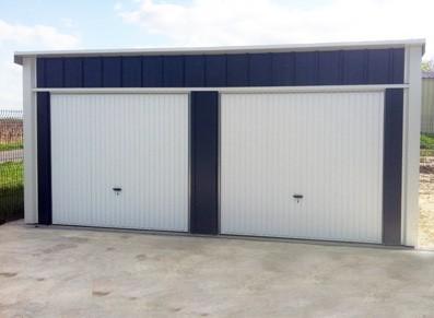 Garage en métal double - Simple pente -  avec cloison