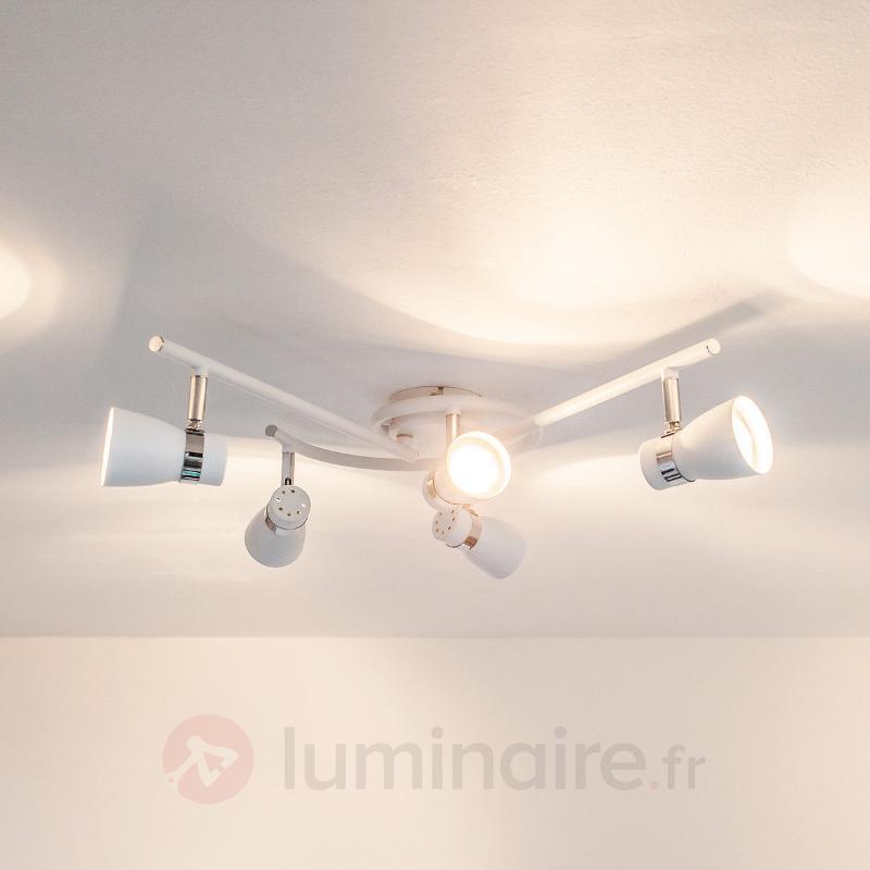 Plafonnier LED Arjen à 5 lampes, blanc - Plafonniers LED