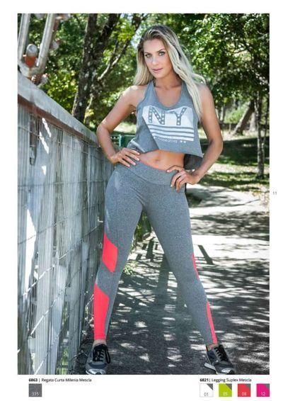 Moda Fitness - Regata Curta Milenia Mescla