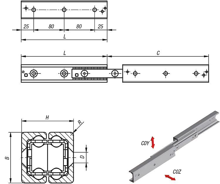 Systeme und Komponenten für den Maschinen und Anlagenbau - Teleskopschienen Doppelanordnung