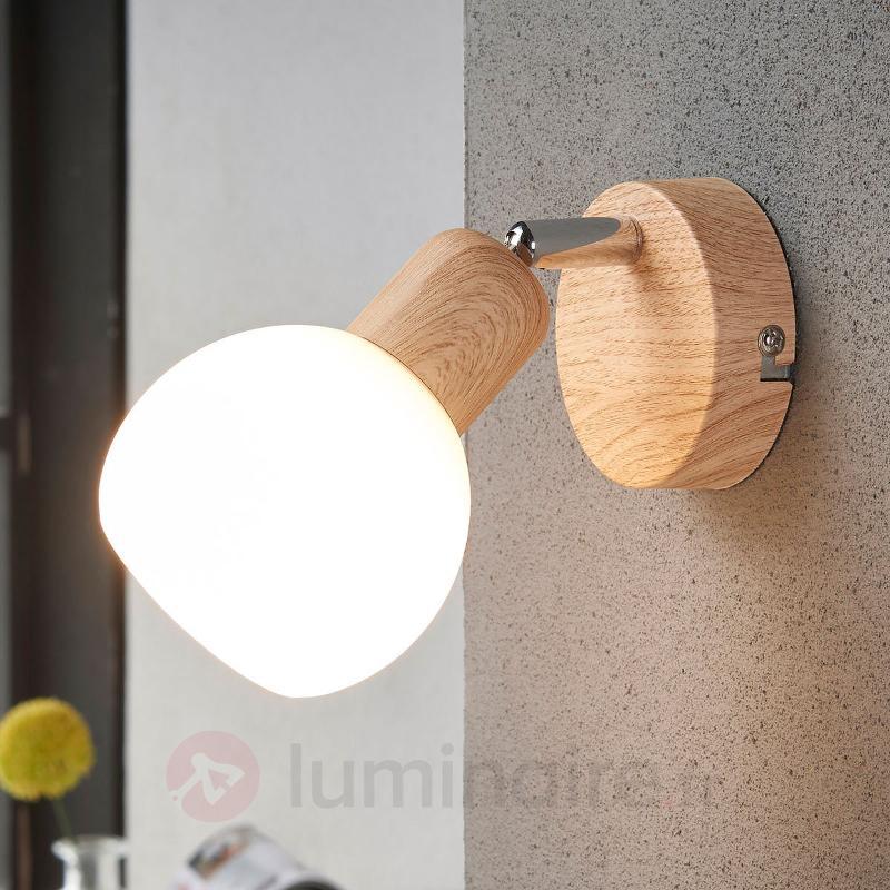 Spot LED attrayant Svenka, à 1 lampe bois - Spots et projecteurs LED