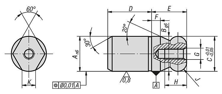 Cimblot à bout sphérique dégagé, Forme C - Cimblots, systèmes de positionnement