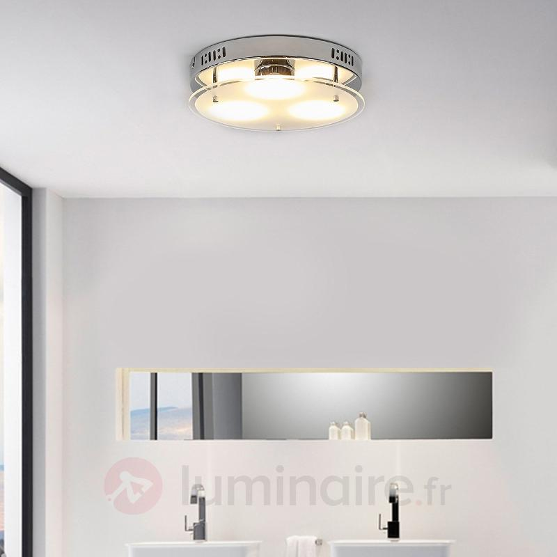 Plafonnier LED rond Bjarne avec verre - Plafonniers LED
