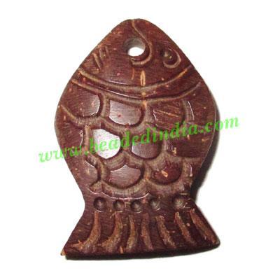 Handmade coconut shell wood pendants, size : 28x19x4mm - Handmade coconut shell wood pendants, size : 28x19x4mm