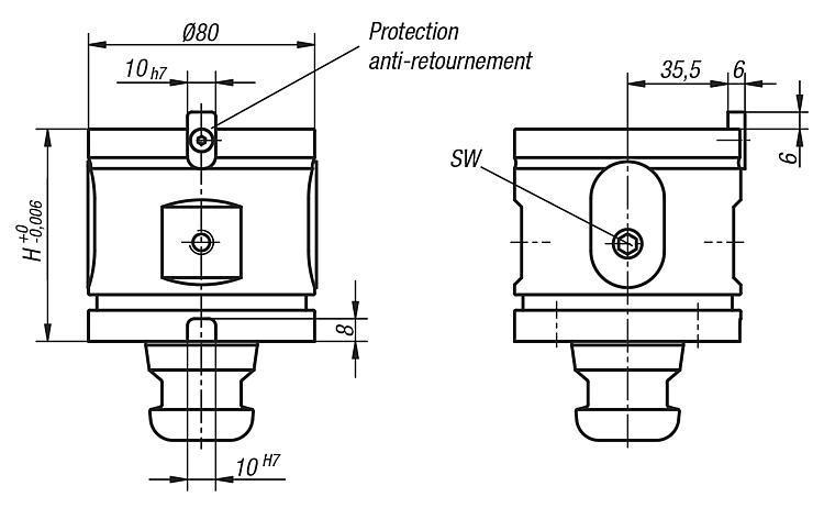 Module entretoise 5 axes UNI lock à pas de 80 mm - UNI lock Pas de 80 mm
