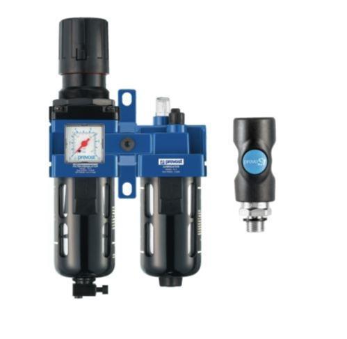 Filtre régulateur lubrificateur 2 blocs - Avec manomètre et fixation équipé d'un raccord de sécurite prevoS1