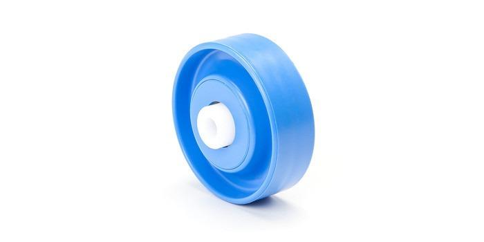Bearing inserts - Spare parts for conveyor systems, made of galvanized sheet steel or plastic.