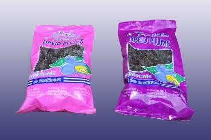 Packaged dried prunes -