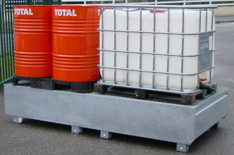 Bac de rétention et caillebotis acier - stockage 2... - BRAG 2 CM Bacs de rétention acier et plastique
