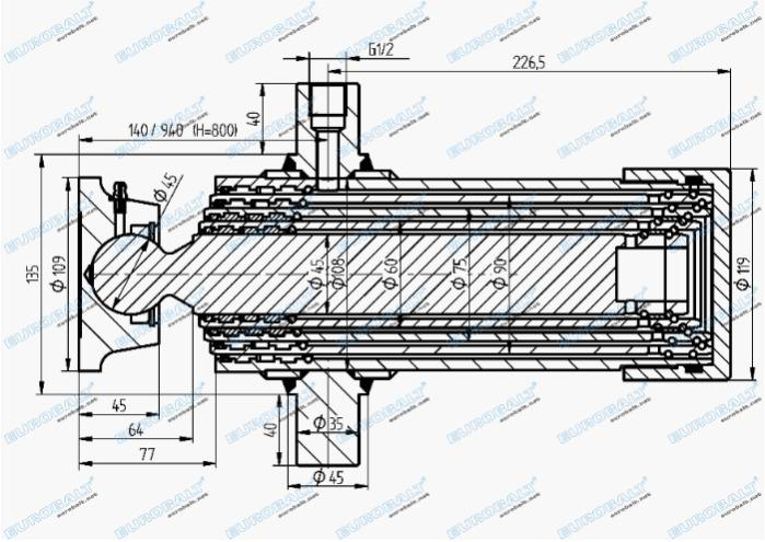 Telescopic four-stage cylinder (piston stroke: 800 mm) - Telescopic four-stage cylinder HC000904