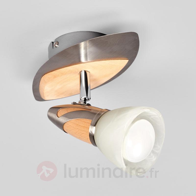 Spot Marena avec applications en bois, LED E14 R50 - Spots et projecteurs LED