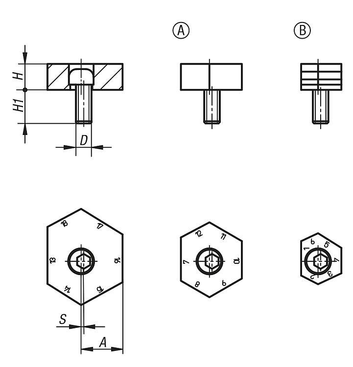 Fixture clamps unequal hexagon - Clamping cams