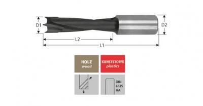 Milling Tools: for wood - carbide twist drill, with double flute, with centering tip a