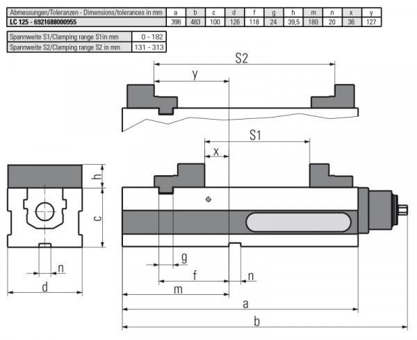 Version LC 125 MECHANISCH - Horizontal einsetzbar–somit für vertikale CNC-gesteuerte Fräsmaschinen geeignet