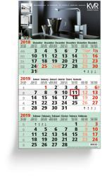 3-Monatsplaner - 3-Monats-Wandkalender Business grün - 6-sprachige Ausgabe