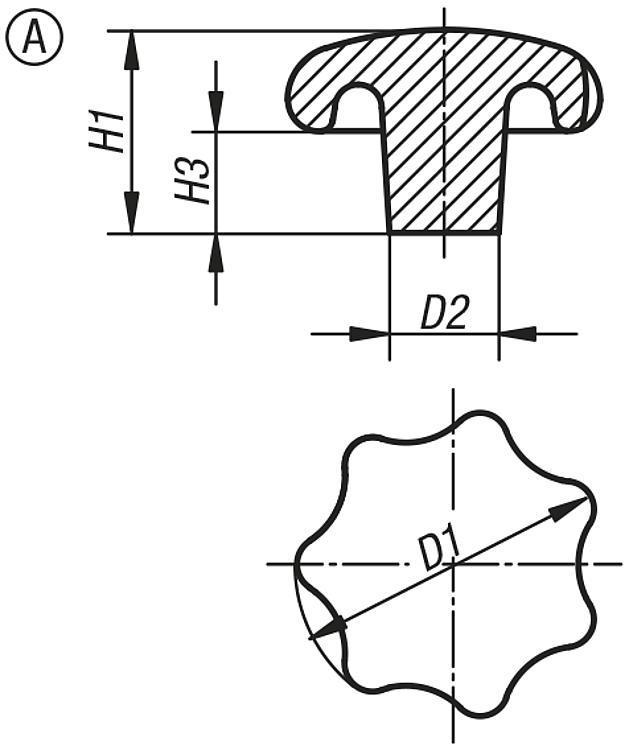 Bouton étoile DIN 6336 en fonte grise - Poignées et boutons