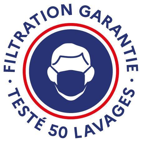 Masque grand public filtration garantie 50 lavages COVID19 - Masque réutilisable en coton avec filtation garantie jusqu'à au moins 50 lavages