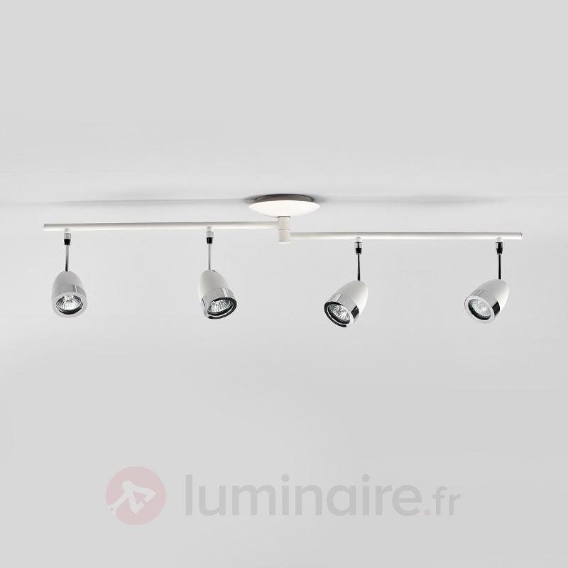Plafonnier blanc Levie avec applications chromées - Spots et projecteurs halogènes