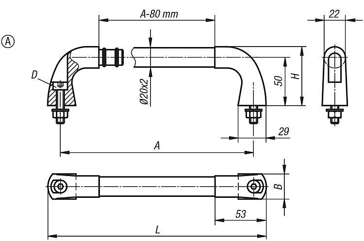 Poignée tubulaire en Inox - Poignées de manutention, poignées tubulaires et poignées alcôve