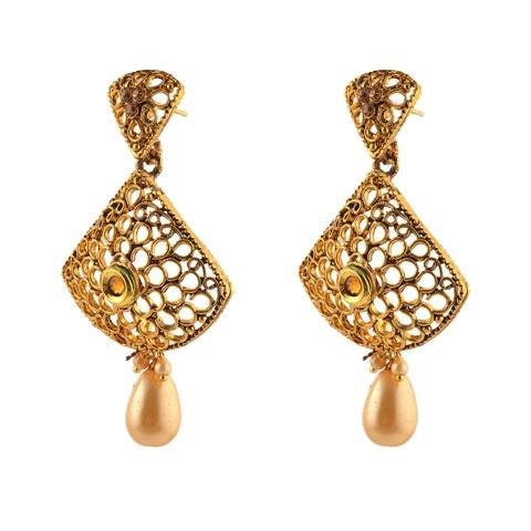 Designer Dangle Drop Earrings For Women & Girls - Zephyrr Fashion Gold Plated Designer Dangle Drop Earrings for Women & Girls