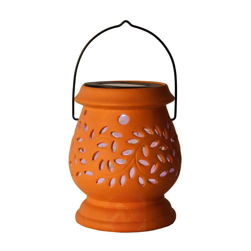 Terracotta-coloured LED solar lamp Clay Lantern - Decorative Solar Lights