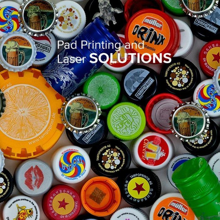 Applikationen für die Getränke Industrie - Applikationen für die Getränke Industrie mit Tampondruck und Lasermarkierung