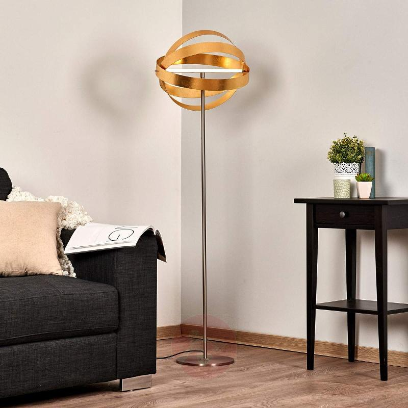 shiny gold led floor lamp cara with touch dimmer