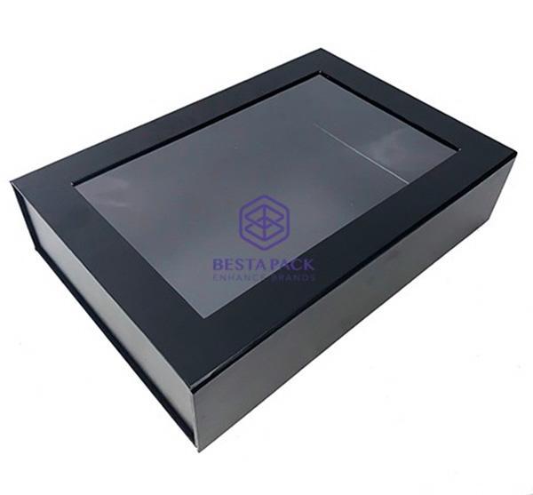 Stiv sammenfoldelig kasse - Magnetisk klaplukning, PET-vindue og dobbeltsidet bånd i hjørnerne