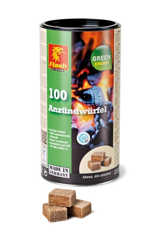 FLASH Anzündwürfel aus Holz & Wachs 100er Dose - null
