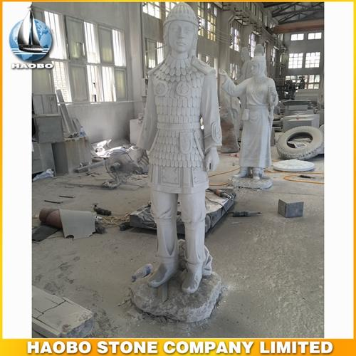 Chinese White Marble Soldier Sculpture For Russian Market
