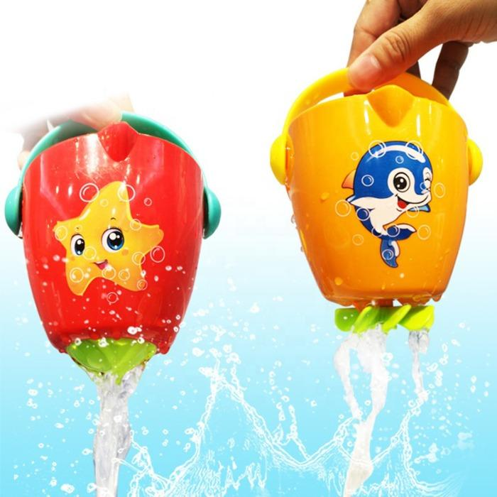 Cartoon water plastic funnel set stackable cups bath toy - Baby Toy