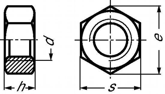 ECROU HEXAGONAL (HU) H = 0,8 D INOX A4 - DIN 934 (415601)