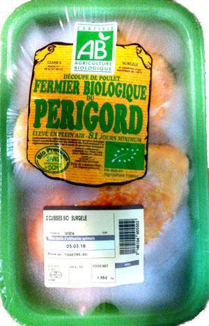 Cuisse de poulet - Poulet biologique et surgelé