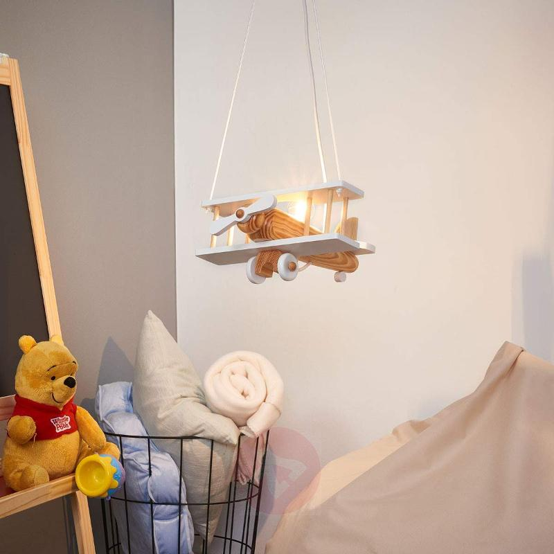 Aeroplane pendant light, white, wooden elements - Pendant Lighting