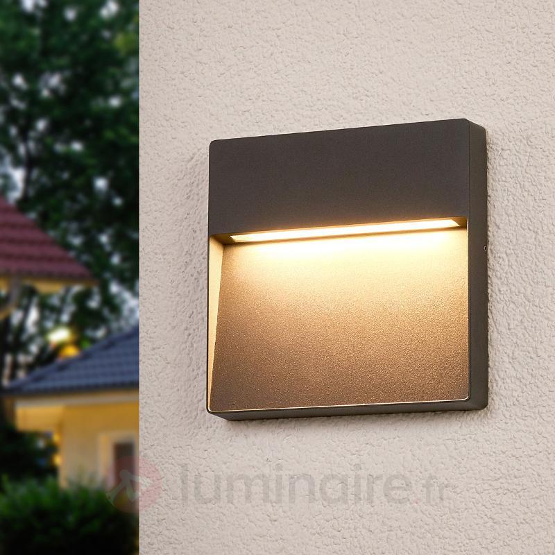 Applique d'extérieur LED carrée Karina, gris foncé - Appliques d'extérieur LED