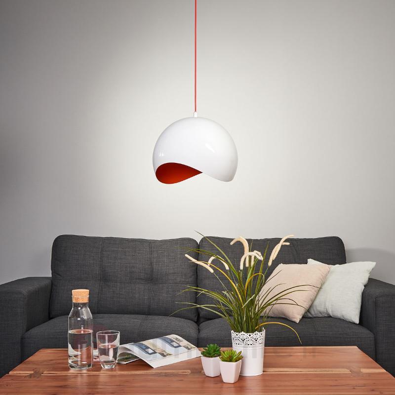 Suspension ultramoderne Alena, blanc-rouge - Cuisine et salle à manger